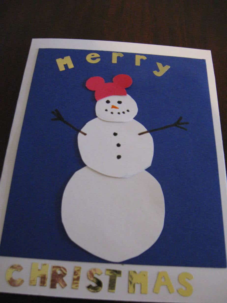 My rendition of the Mickey Mouse hat snowman card.