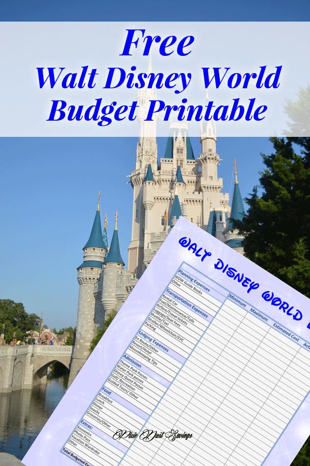Walt Disney World Budget printable