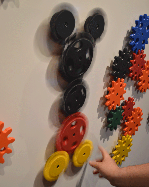 My husband and I even made our own Disney magic by making a gear Mickey at the Gear Wall. My husband could of played at this wall all day!