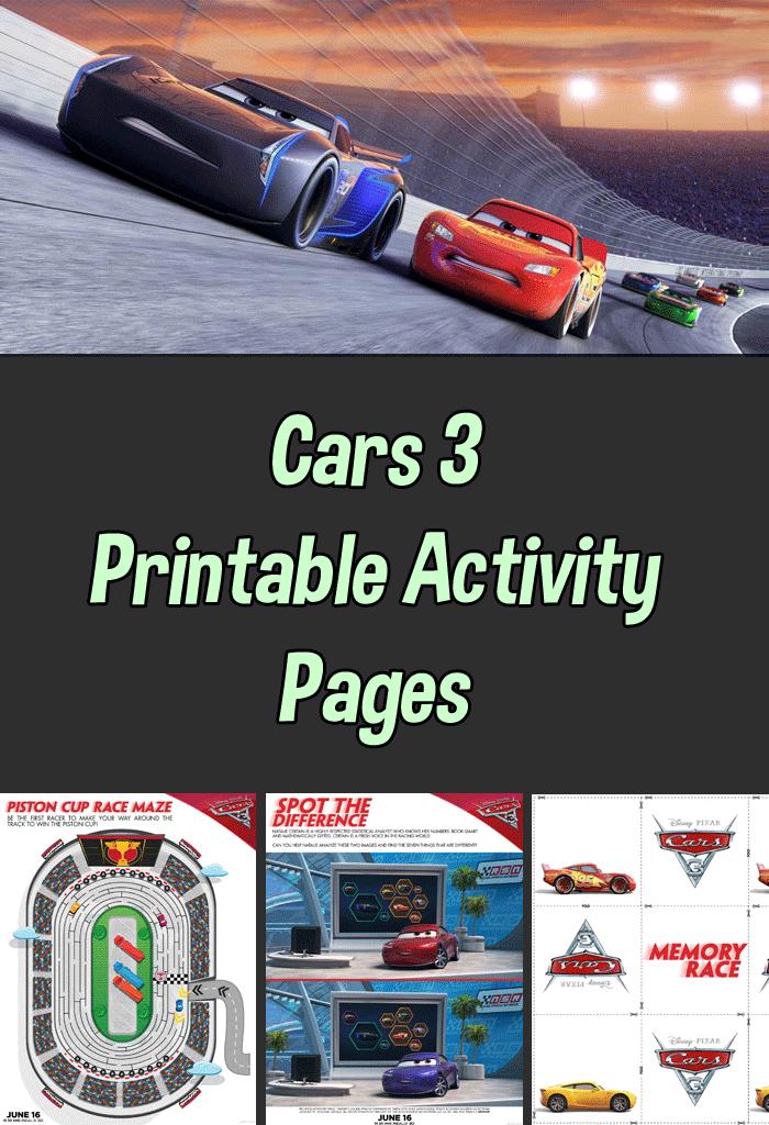 Free Cars 3 Printable Activity Sheets, Trailer, and Trivia